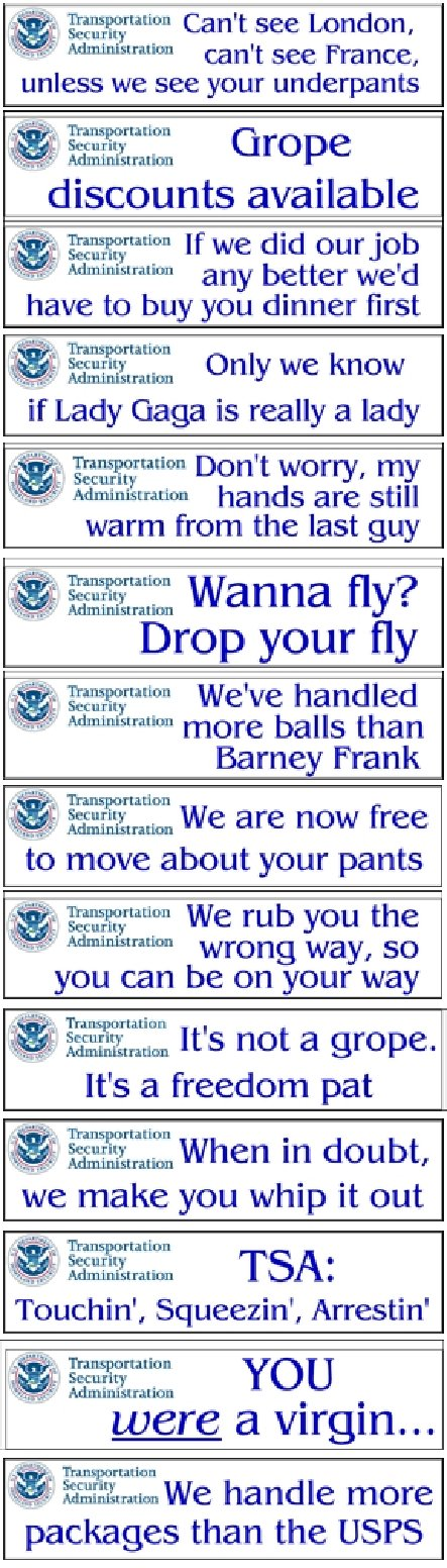 TSA Security Signs